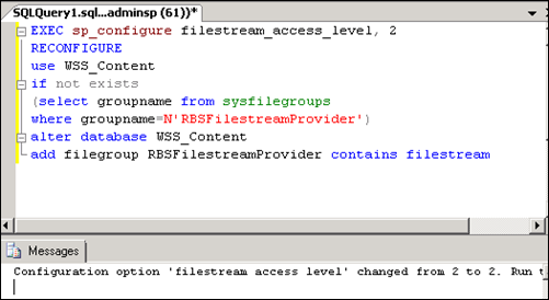 Configuration option 'filestream access level'