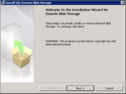 installation wizard for Remote Blob Storage