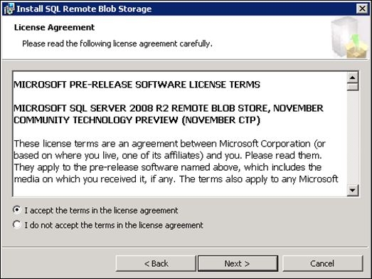 Install SQL Remote Blob storage : Licence Agreement