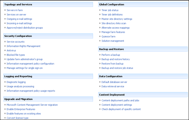 SharePoint 2007 Central Administration