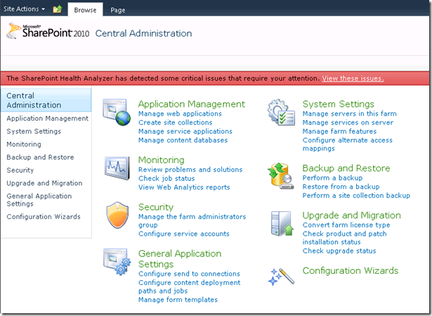 SharePoint 2010 Central Administration