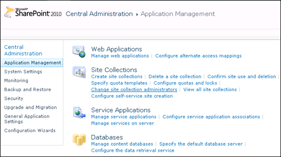 SharePoint 2010 Application Management