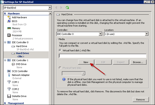 Creating new virtual hard disk - hyperv
