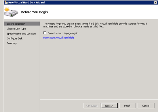 New virtual hard disk wizard in hyperv