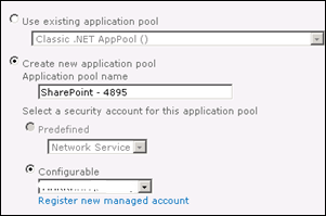 Application Pool for new web application