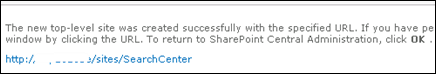 SharePoint 2010 Search Center URL