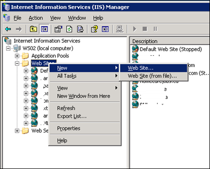 Creating new site in IIS 6