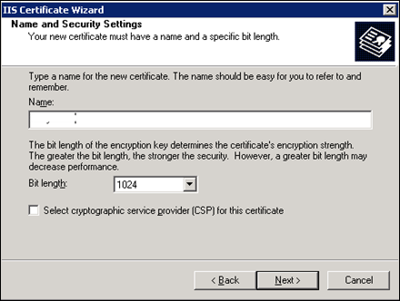 SSL Certificate Name and settings