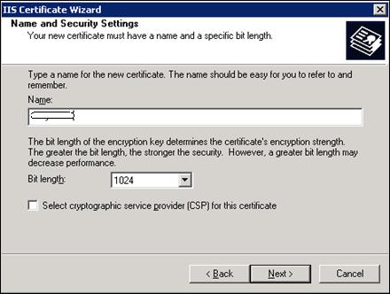 SSL Certificate Name and settings