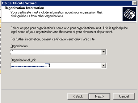 Organization Information to generate SSL