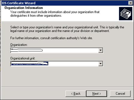 Organization Information to generate SSL