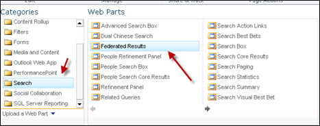 Adding Federated Result Web part