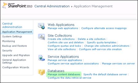 Manage Content Database SharePoint 2010