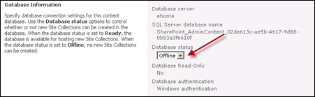 content database status offline in SharePoint 2010