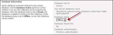 content database status offline in SharePoint 2010