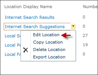 Editing Federated Search locations