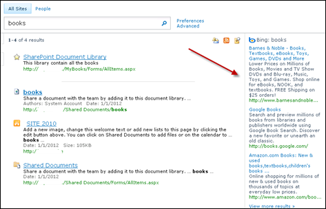 Federated Search Results from BING