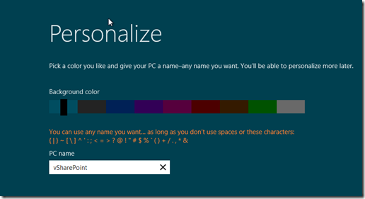 Windows 8 Personalize screen