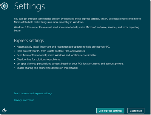 Windows 8 Express Settings Screen