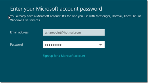 Windows 8 Microsoft Account Password