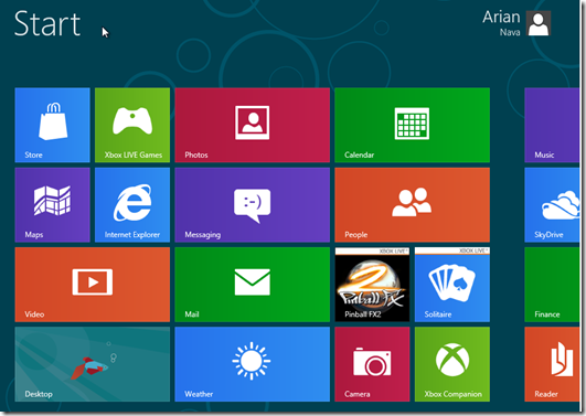 Windows 8 Start Window