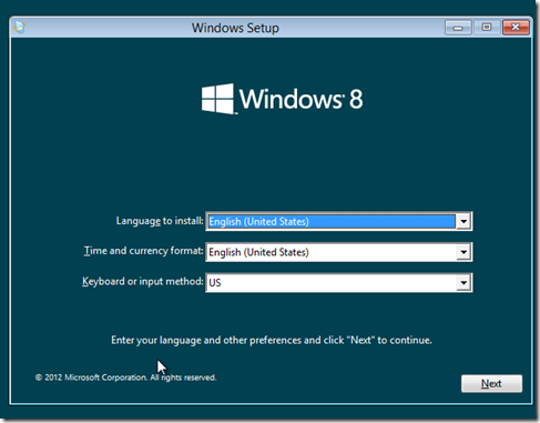 Windows 8 Setup Window