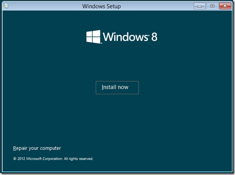 Windows 8 Consumer Preview Install Now