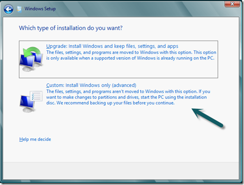 Windows 8 Consumer Preview Custom Install