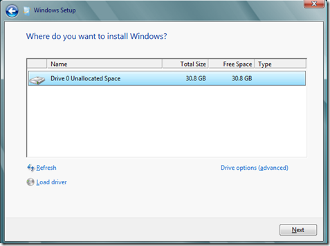 Select the location to install windows 8 Consumer Preview