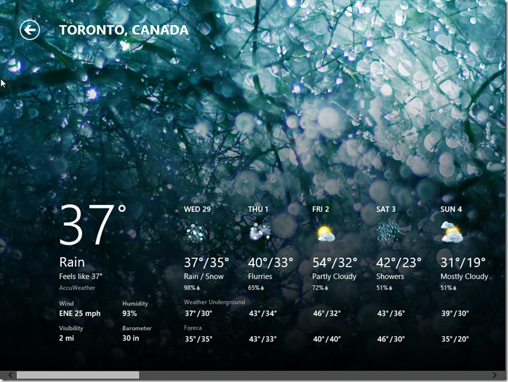 Windows 8 Consumer Preview Weather Screen