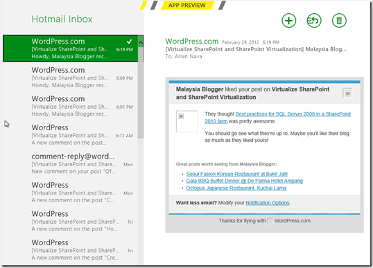 Windows 8 Consumer Preview Hotmail Screen
