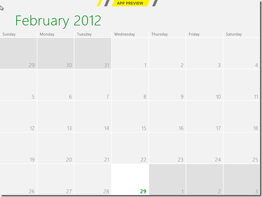 Windows 8 Consumer Preview Calendar