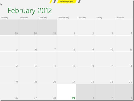Windows 8 Consumer Preview Calendar