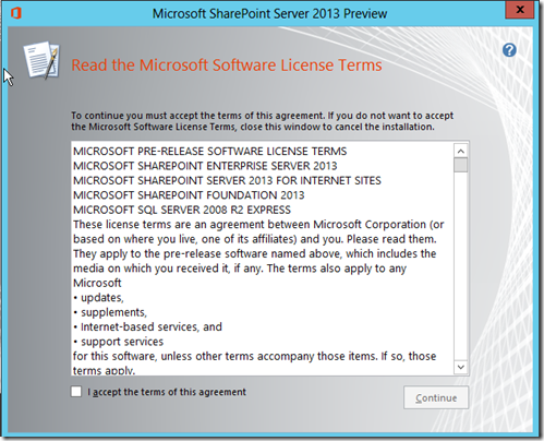 SharePoint Server 2013 Preview License Terms
