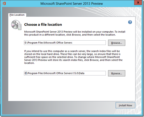 SharePoint Server 2013 preview File Location