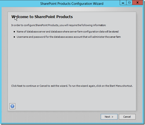SharePoint 2013 products configuration wizard