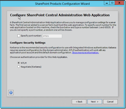 Configure SharePoint 2013 Central Administration Web Application