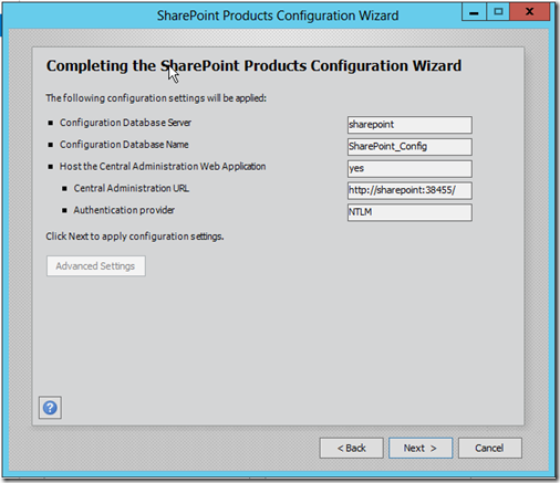 completing sharepoint 2013 configuration wizard