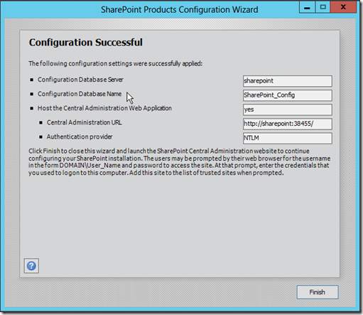 SharePoint 2013 configuration sucessful