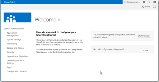 SharePoint 2013 configuration wizard