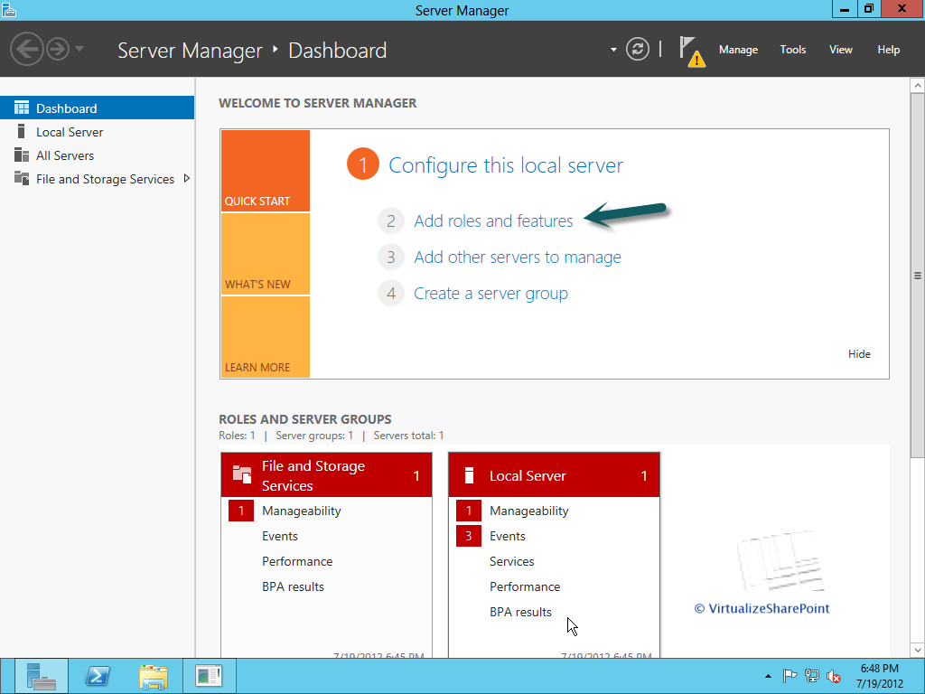 How to add roles to a Windows Server 2012 computer