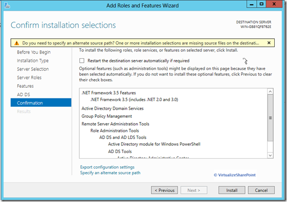 Active Directory 2012 confirm-installation-selections