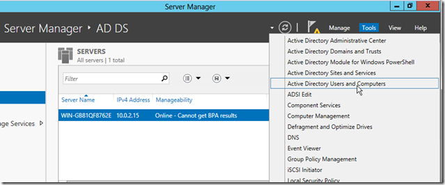 Active Directory Users and Computers in Windows Server 2012