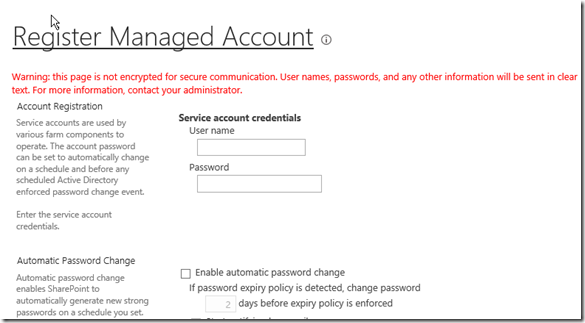 Register Managed Account in SharePoint 13