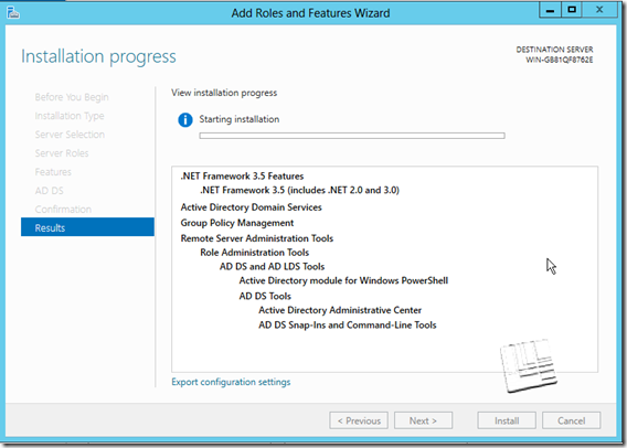 Active Directory 2012 Installation-progress