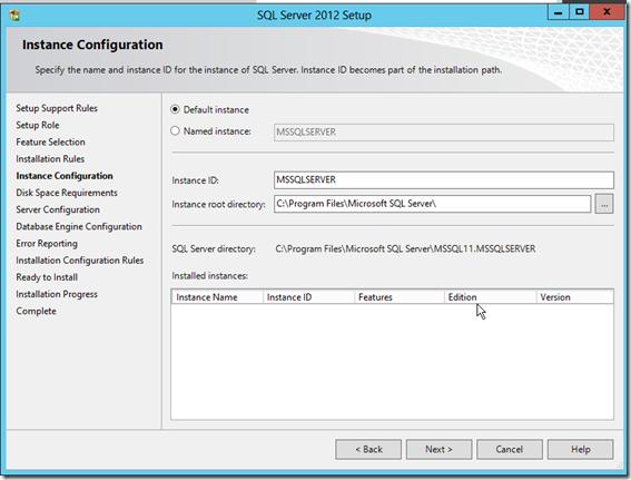 SQL Server 2012 Setup Instance Configuration