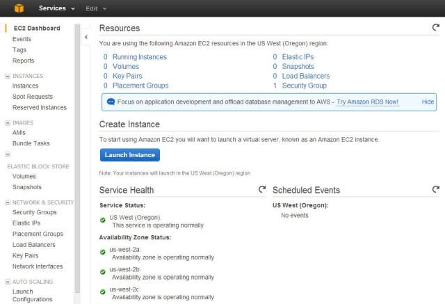 EC2 Dashboard in AWS