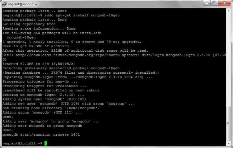 sudo apt-get install mongodb-10gen