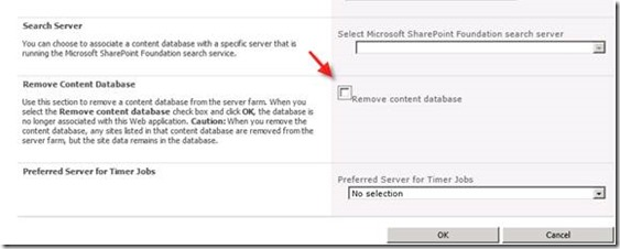 Remove Content Database from SharePoint Site