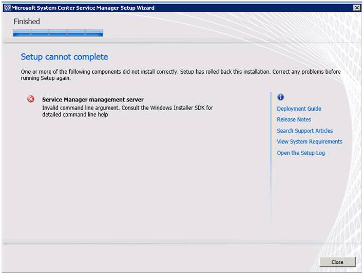 Invalid command line argument. Consult the Windows Installer SDK for detailed command line help.